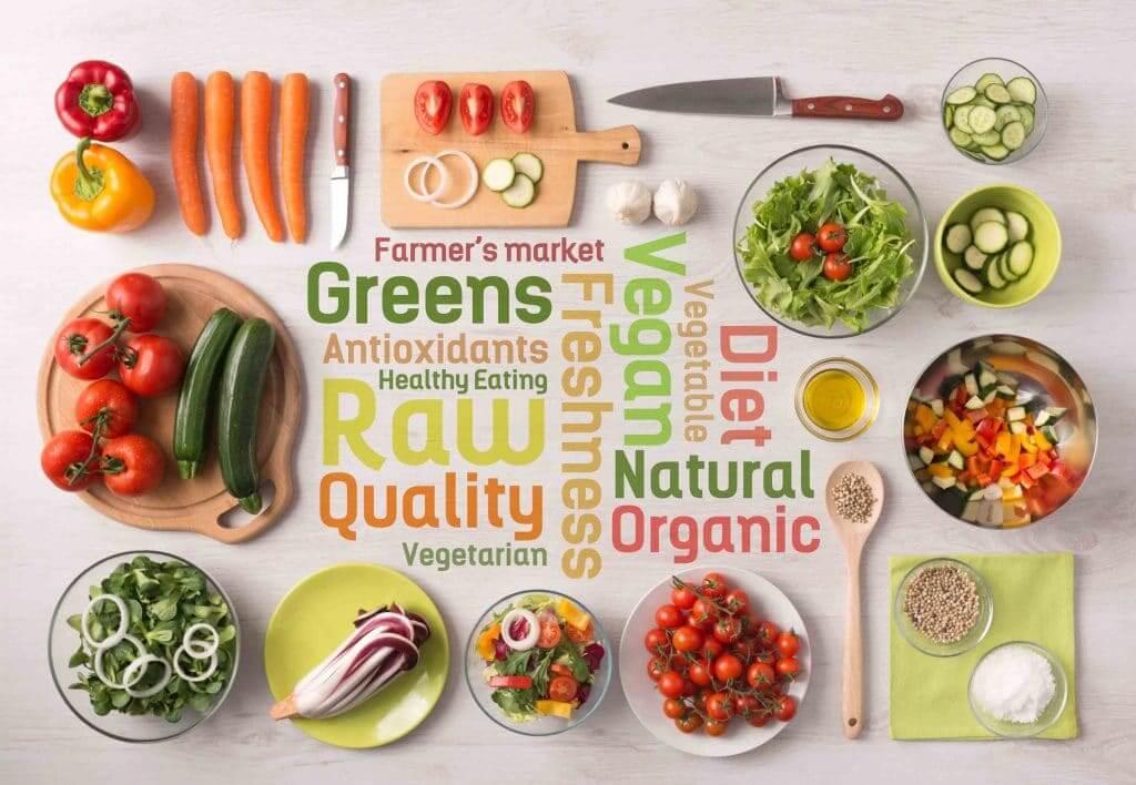 Divers légumes crus et sains