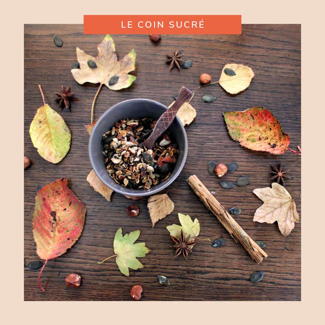 Granola d'automne aux flocons de châtaigne